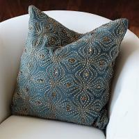 Azura Global Bazaar Blue Gold Beaded Pillow - 20x20 ...