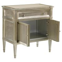 Mary Regency Silver Leaf Grey Wood Nightstand   Kathy Kuo Home
