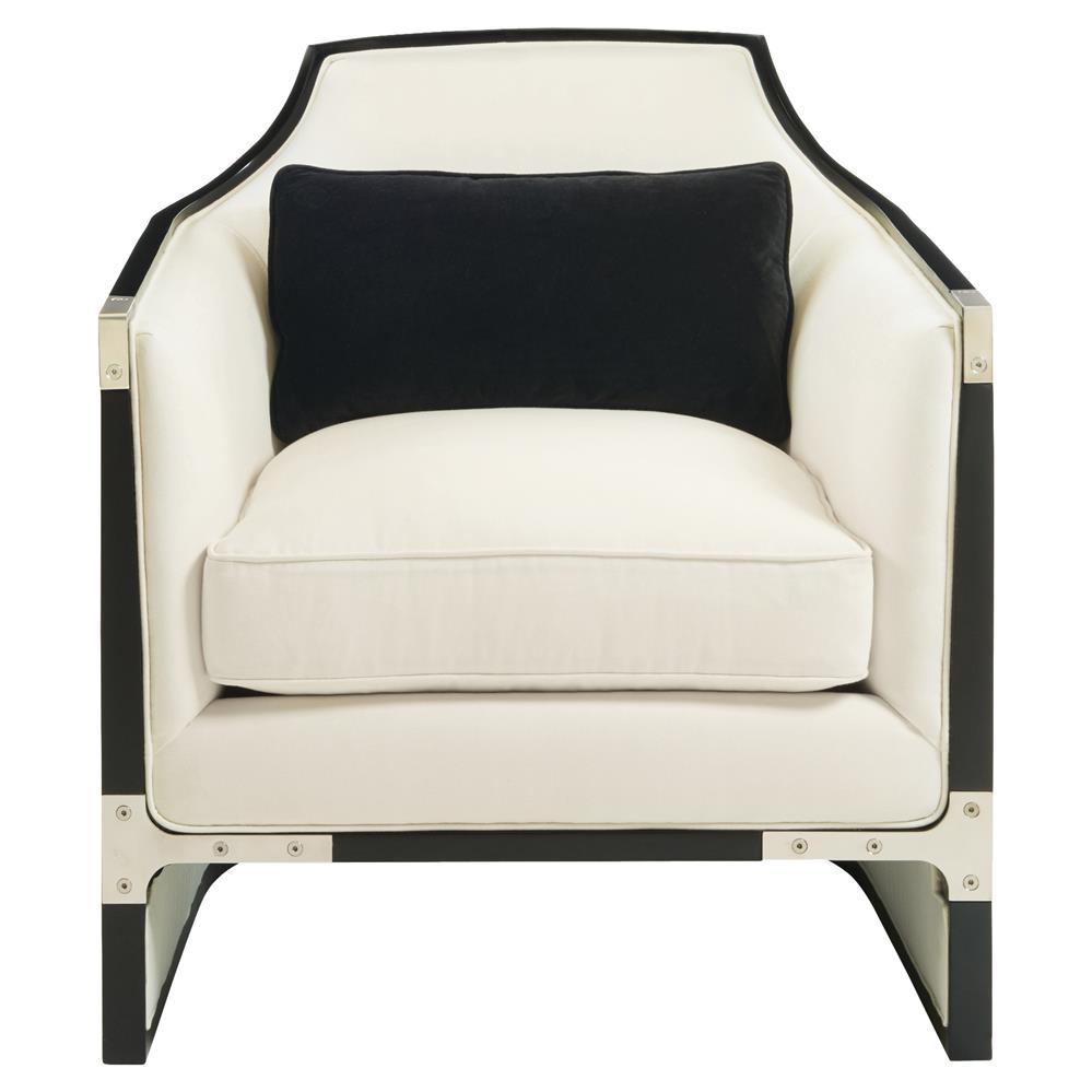 Octavio Modern Black Tuxedo Trim Ivory Chair  Kathy Kuo Home