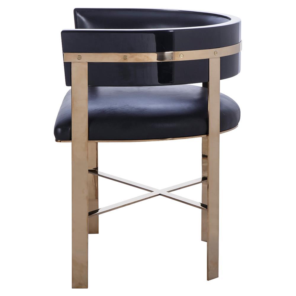 Kelly Hoppen Art Regency Black Leather Gold Half Moon Chair