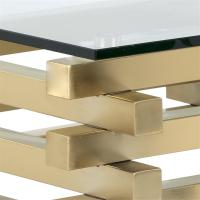 Horton Modern Classic Gold Glass Square Coffee Table ...