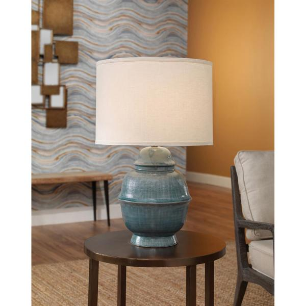 Freya Modern Classic White Linen Shade Blue Ceramic Table Lamp