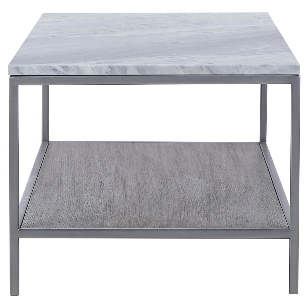 Resource Decor Paxton Mid Century Modern Marble Top Silver