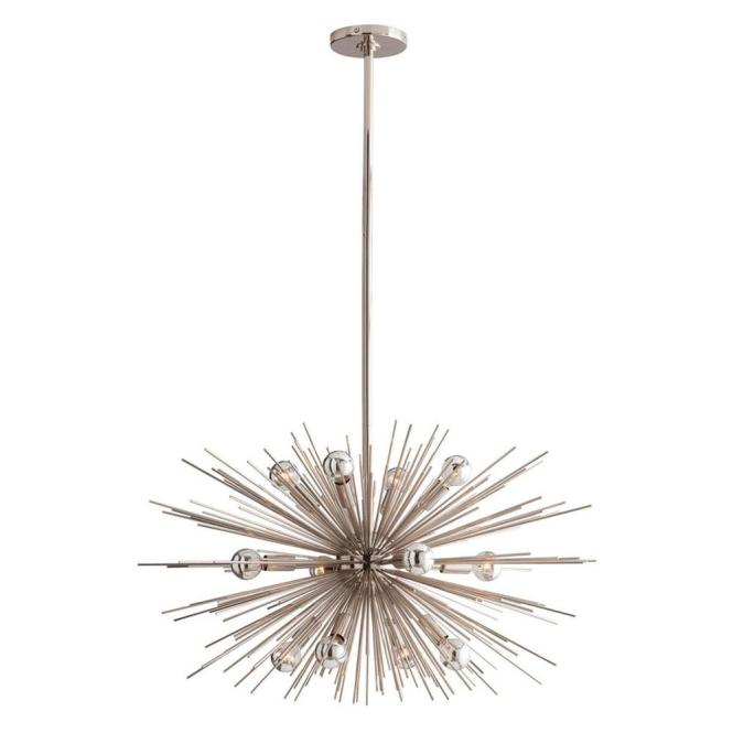 Sunburst Polished Nickel Modern Sputnik Chandelier 29d Kathy Kuo Home