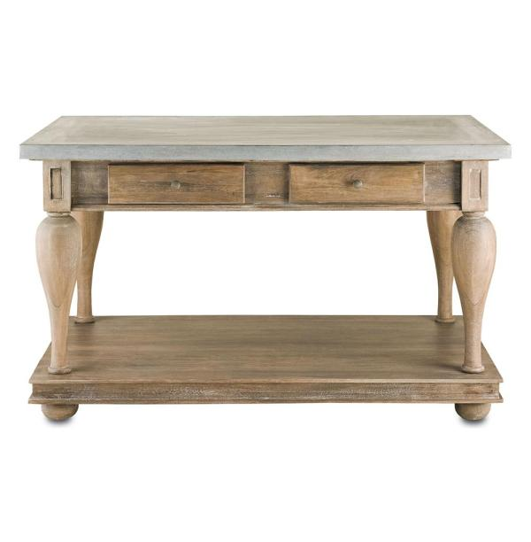 French Country Balustrade Antique Walnut Kitchen Island Console Table- Kathy Kuo Home