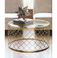 Gable Hollywood Regency Glass Gold Leaf Round Coffee Table ...