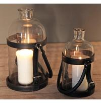 Sven Rustic Lodge Glass Leather Lantern Candle Holder - 16 ...