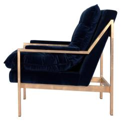 Navy Blue Velvet Club Chair Container Store Bungee Cumulus Hollywood Regency Gold Arm Kathy Kuo Home
