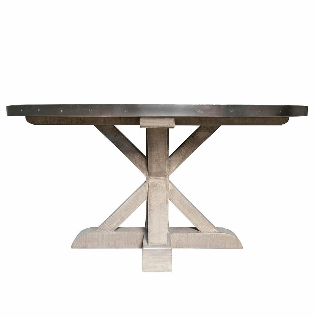 zinc kitchen table triple sink lewiston industrial loft top x base round dining kathy kuo home