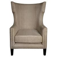 Sinclair French Country Burlap Nailhead Wing Back Accent Chair