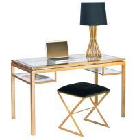 Cordoba Hollywood Regency Glass Gold Leaf Desk