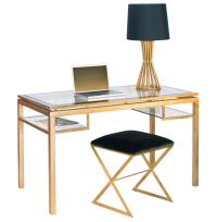 Cordoba Hollywood Regency Glass Gold Leaf Desk | Kathy Kuo ...