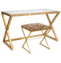 Vanessa Hollywood Regency Gold Leaf Glass Desk | Kathy Kuo ...
