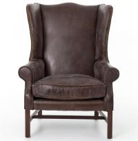 Bishop Masculine Top Grain Cigar Brown Leather Wing Chair ...