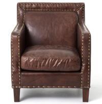 Alcott Rustic Masculine Cigar Brown Leather Club Chair ...