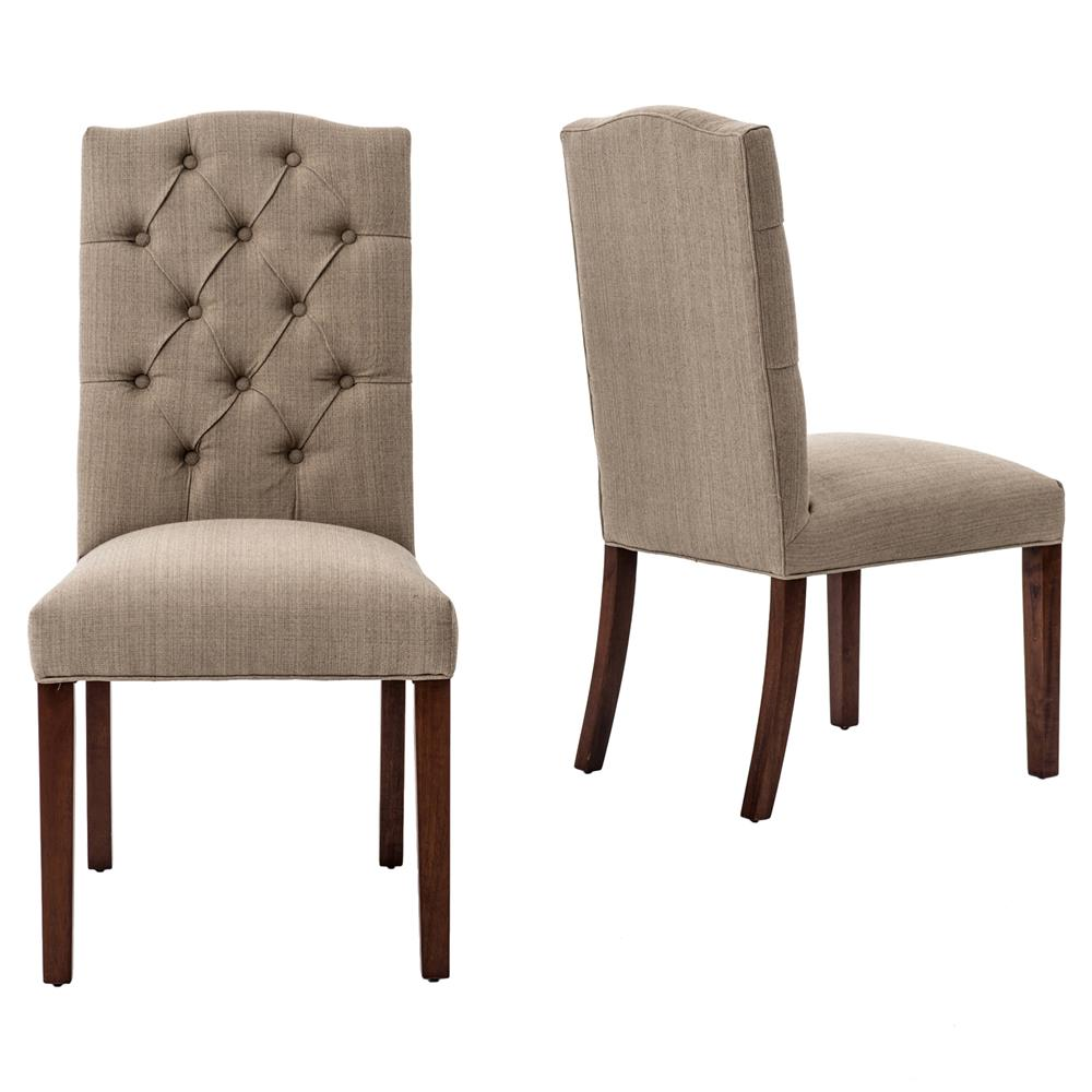 Jackie French Country Classic Tufted Taupe Dining Chair