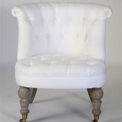 White Tufted Chairs Round Outdoor Chair Amelie French Linen Accent Kathy Kuo Home View Full Size