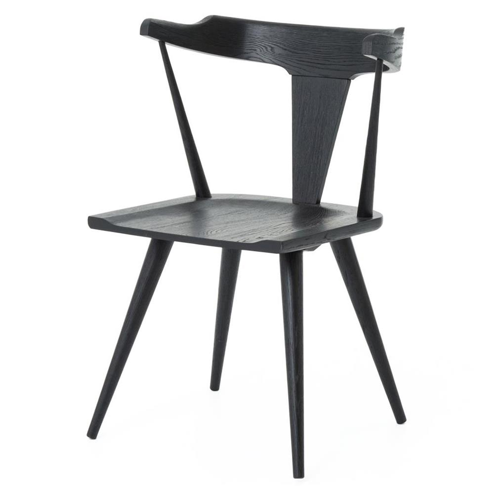 Tenly Mid Century Modern Black Oak Barrel Back Dining Chair
