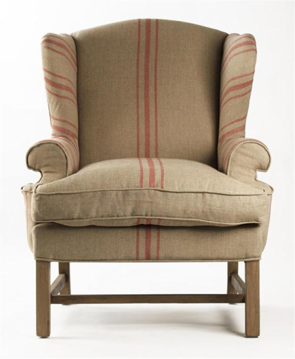 Khaki Linen English Accent Club Chair With Red Stripe