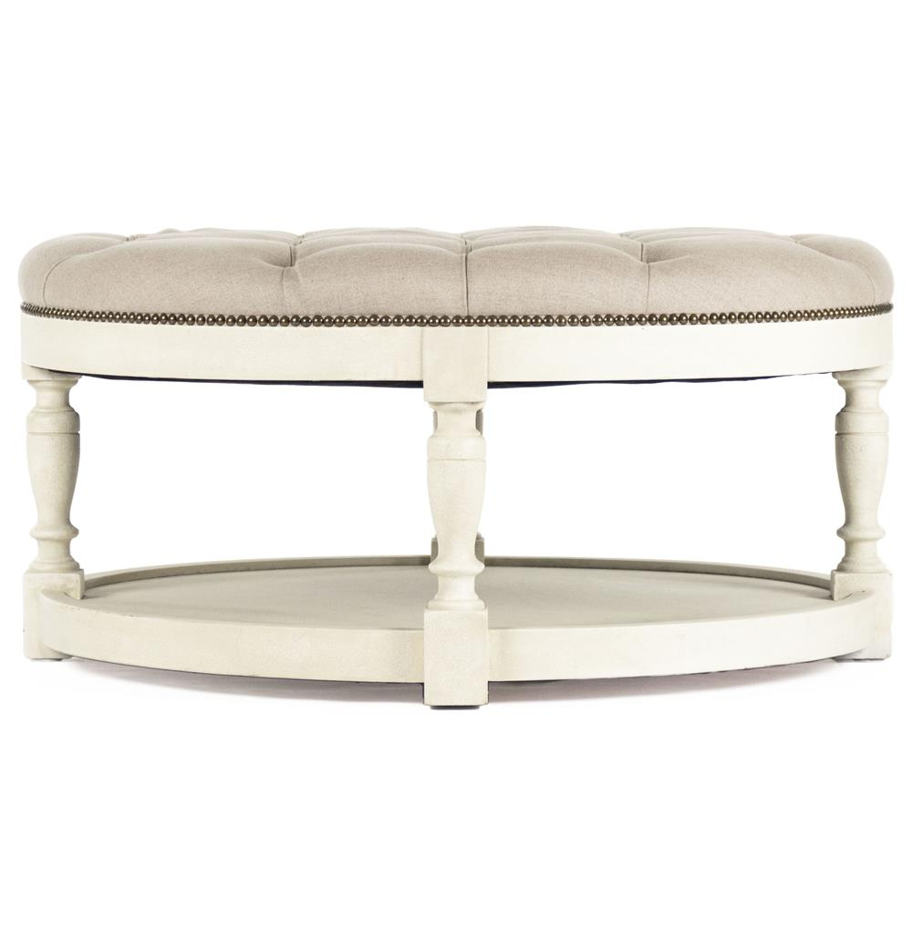 Tufted Ottoman Coffee Table Round