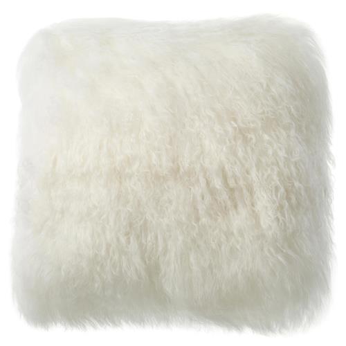 shansi modern ivory long wool tibetan fur pillow 16x16