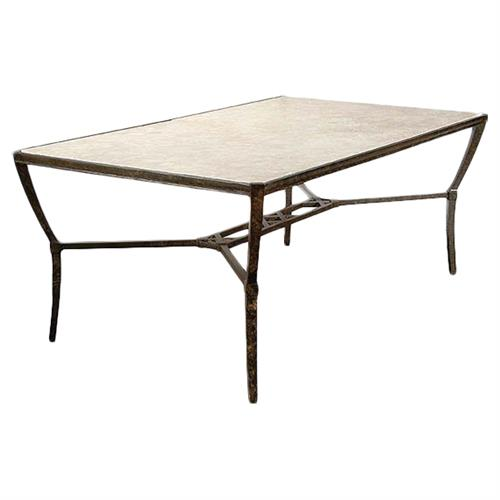 jane modern french stone top metal outdoor dining table