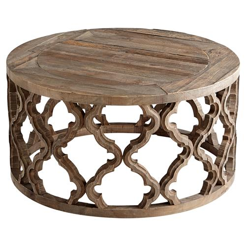 hiru global rustic wood medallion round coffee table