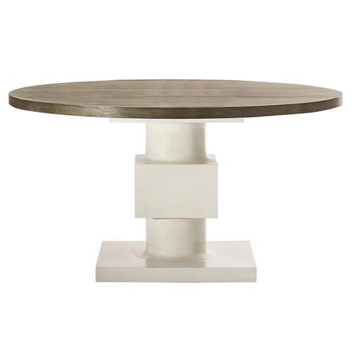 leonara coastal white pedestal rustic round wood dining table