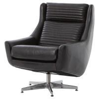 Warley Loft Masculine Black Leather Swivel Chair | Kathy ...