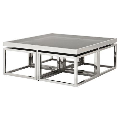 eichholtz monogram modern classic smoked glass square nesting silver coffee table