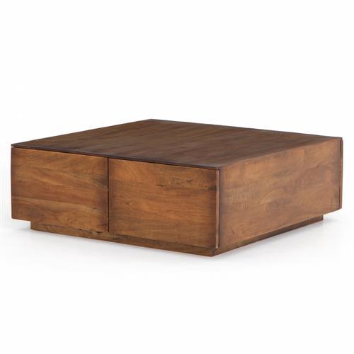 eagan rustic lodge brown reclaimed wood square 4 drawer storage block coffee table