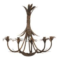 Pair Palm Leaf Rustic Metal 5 Taper Candle Wall Sconce ...