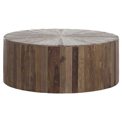 cyrus rustic lodge natural brown reclaimed elm wood drum round block coffee table