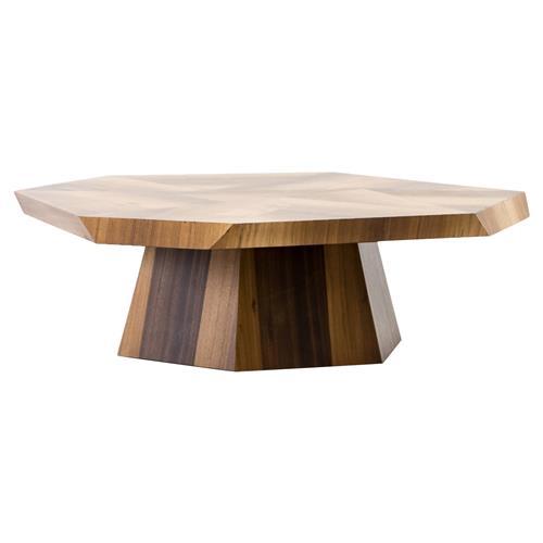 colt modern geometric blonde yukas wood pedestal oval coffee table
