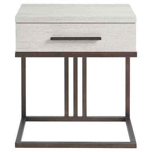 julius modern ivory wood metal frame nightstand