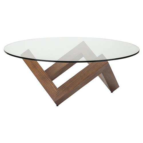 caesar mid century modern brown wood tempered round glass round coffee table
