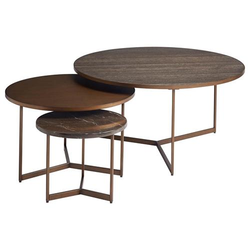 jordyn modern classic wood metal stone nesting round coffee tables set of 3
