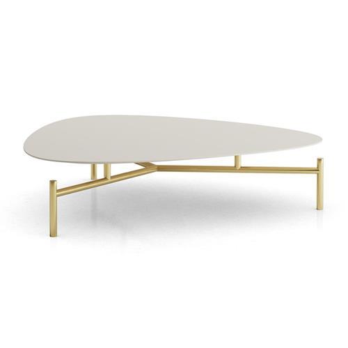 modloft finsbury mid century modern low white almond wood brass triangular coffee table