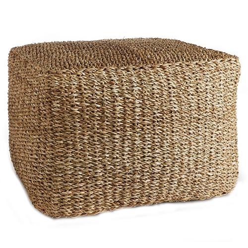 wendy coastal beach brown woven rattan square ottoman