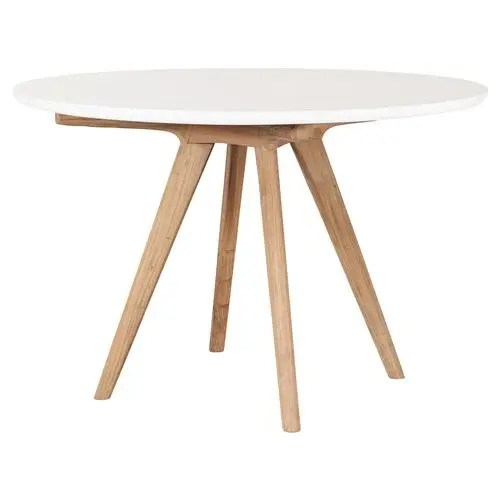cooper modern round white concrete top teak base outdoor dining table