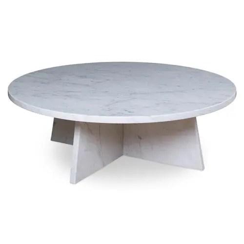 highland house stillman modern classic white carrara marble round round coffee table