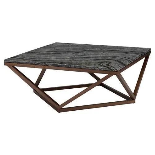 jeneva modern classic brown geometric base square black coffee table