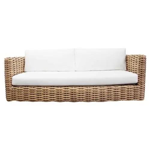 kathleen coastal beach white cushion brown woven rattan outdoor sofa