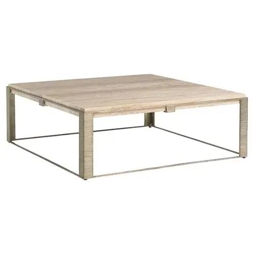 lexington stone canyon modern square silver travertine stone top coffee table