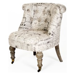 French Country Accent Chair Kindergarten Table And Chairs Amelie Gray Literary Script Tufted