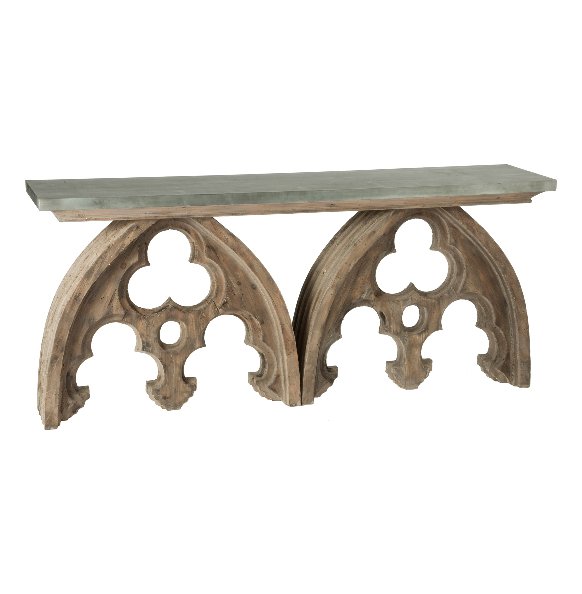aidan gray sofa table rooms to go beds gothic french cathedral arch aged wood console tin top