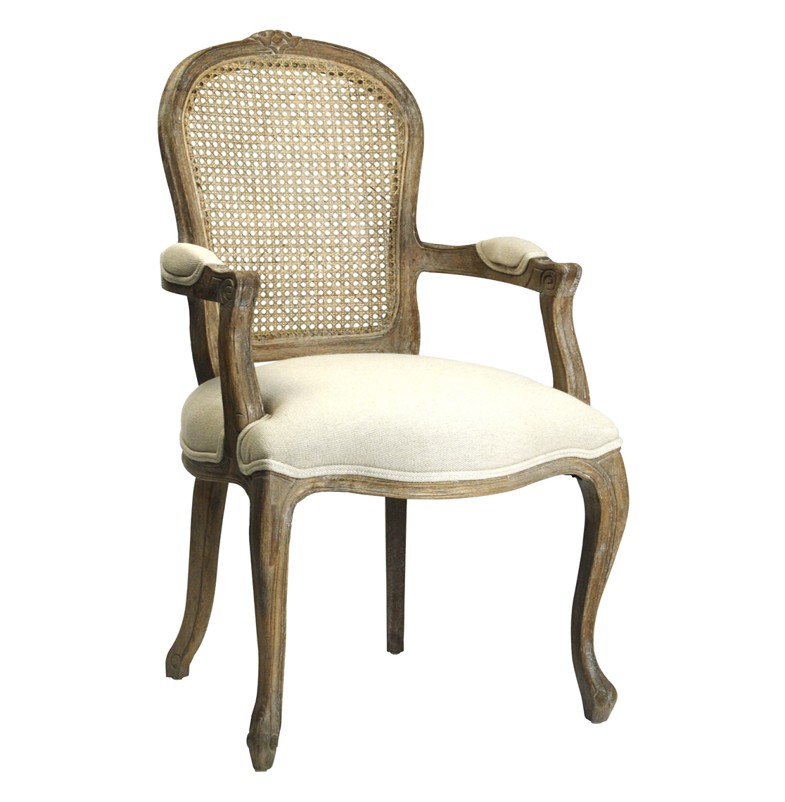Lyon French Country Cane Back Linen Dining Arm Chair Arm