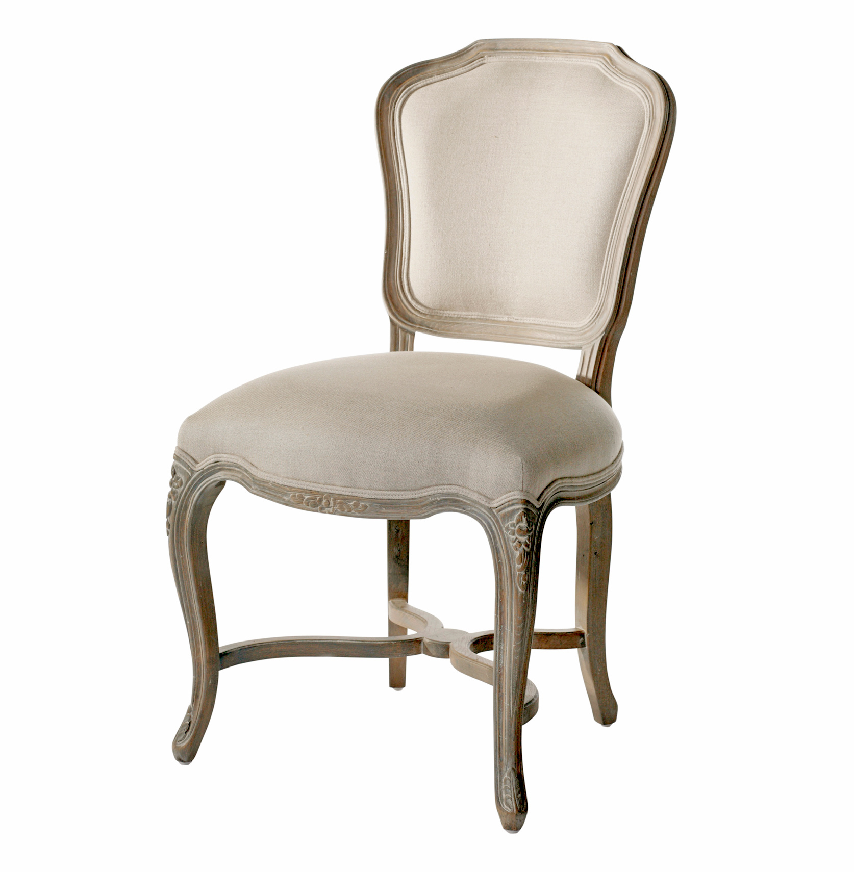 Simone French Provincial Carved Oak Linen Dining Chair