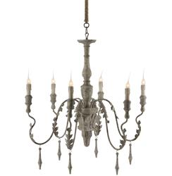 Charlemagne French Country Grey Wash 6 Light Chandelier
