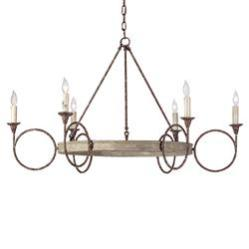 Tourteau French Country Iron Wood Circles Chandelier Kathy Kuo Home